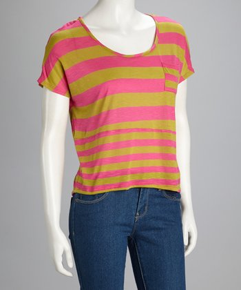 Green & Pink Stripe Top