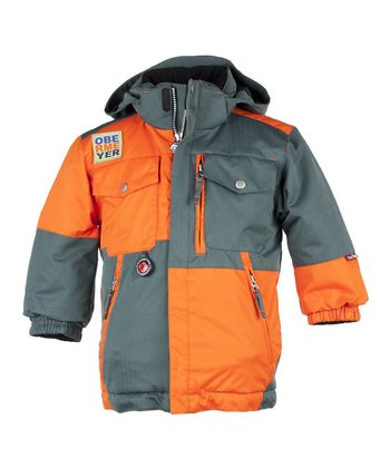 Slate & Orange Superpipe Jacket - Toddler & Boys