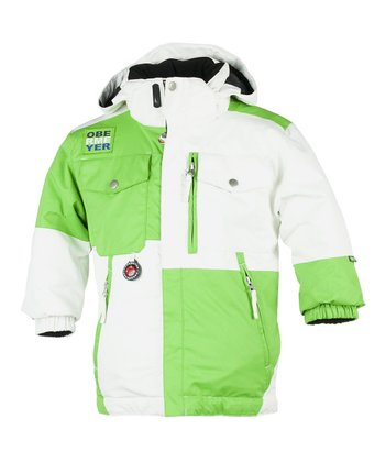 White & Green Superpipe Jacket - Toddler & Boys