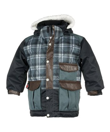 Slate Flannel Plaid Kodiak Jacket - Boys
