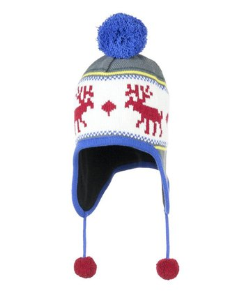 Black Moose Knit Pom-Pom Beanie