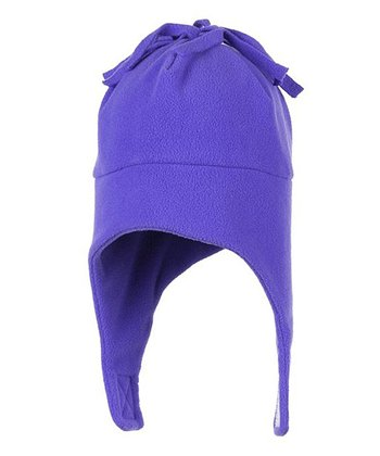 Grape Orbit Fleece Earflap Beanie