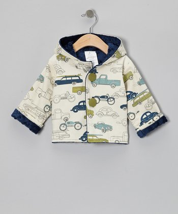 Navy Minky Dot Car Hooded Jacket - Infant & Toddler