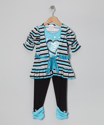 Turquoise Heart Tunic & Leggings - Toddler