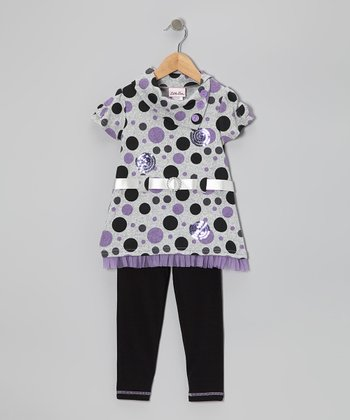 Purple Polka Dot Hacci Tunic & Leggings - Girls