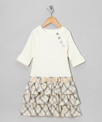 Cream Plaid Dress - Infant