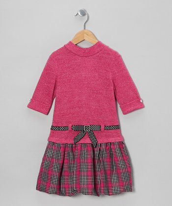 Hot Pink & Plaid Sweater Dress - Infant