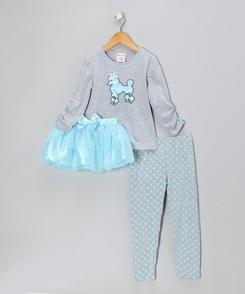 Gray & Blue Poodle Top Set - Girls