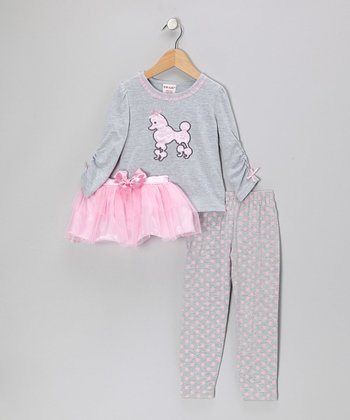 Gray & Pink Poodle Top Set - Toddler & Girls