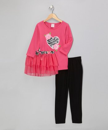 Pink Heart Top Set - Girls
