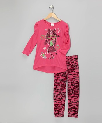 Pink Zebra Top & Leggings - Girls