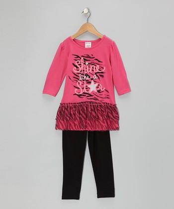Pink 'Shine Like a Star' Tunic & Black Leggings - Girls