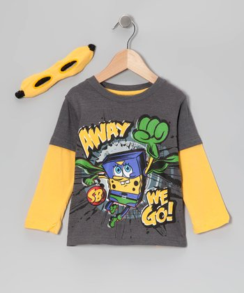 Gray & Yellow Super SpongeBob Tee Set - Toddler
