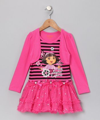 Bright Pink 'One Sweet Explorer' Dress - Infant