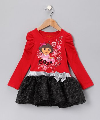 Red & Black 'Dora' Dress - Infant, Toddler & Girls