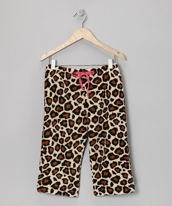 Tan Leopard Pajama Pants - Girls