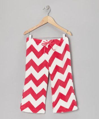 Red Zigzag Plush Pajama Pants - Girls