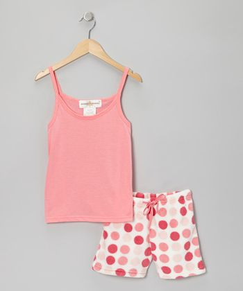 Pink Polka Dot Tank Pajama Set - Girls