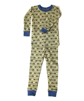 Blue & Green Bear Organic Cotton Pajama Set - Infant & Kids