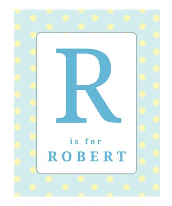 Blue & Yellow Polka Dot Initial Personalized Print