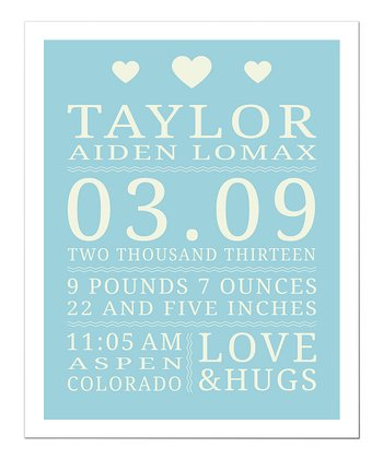Blue Love & Hugs Personalized Announcement Print