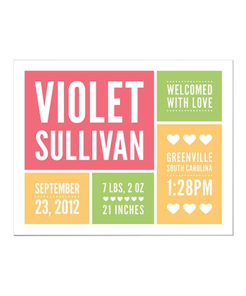 Coral 'With Love' Personalized Announcement Print