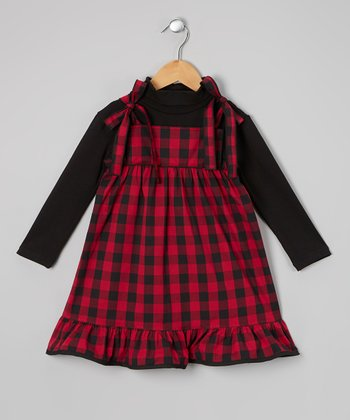 Black & Red Plaid Ruffle Dress & Top - Infant & Girls