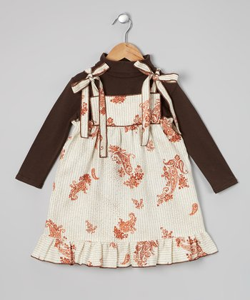 Maroon Paisley Ruffle Dress & Top - Infant, Toddler & Girls