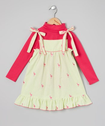 Pink & Green Bird Ruffle Dress & Top - Infant, Toddler & Girls