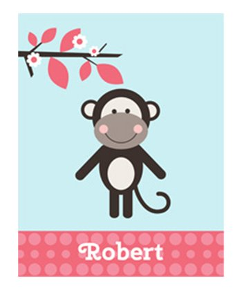 Blue Little Monkey Personalized Print