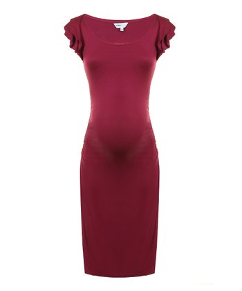 Plum Charlotte Maternity Angel-Sleeve Dress