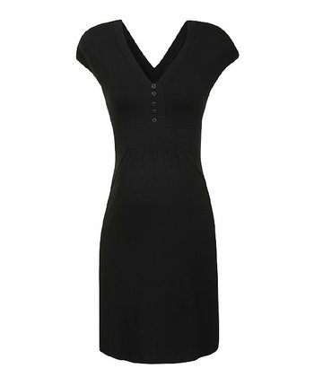 Black Jessie Maternity & Nursing V-Neck Dress