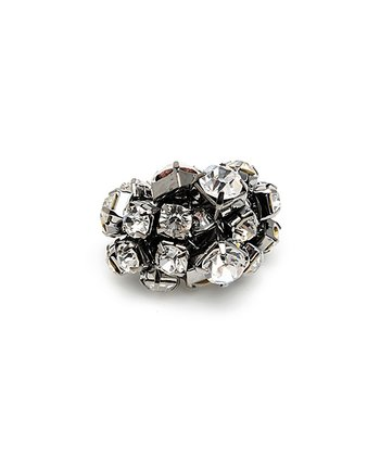 Gunmetal Crystal Ava Ring