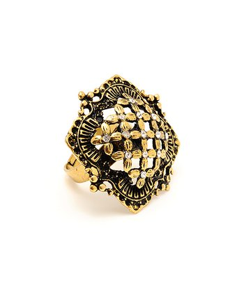 Antique Gold Crystal Huehue Ring
