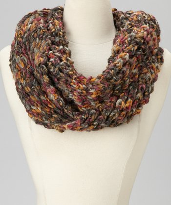 Dark Gray & Orange Infinity Scarf