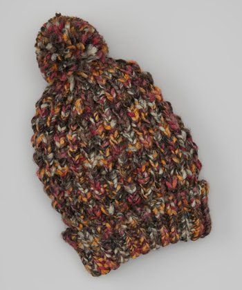 Dark Gray & Orange Pom-Pom Beanie