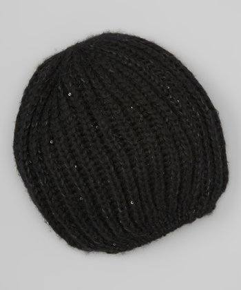 Midnight Black Sequin Marl Beanie
