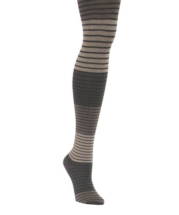 Taupe Stripe Sweater Tights - Women