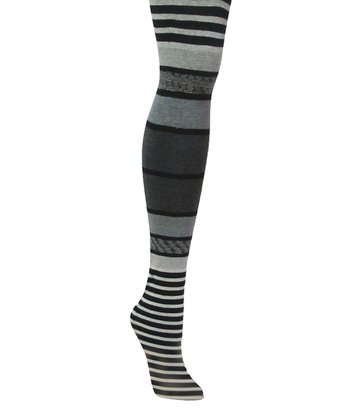 Black Cool Stripe Sweater Tights - Women