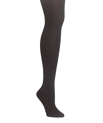 Black Sweater Ribbed Tights - Plus
