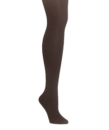 Brown Heather Sweater Ribbed Tights - Plus