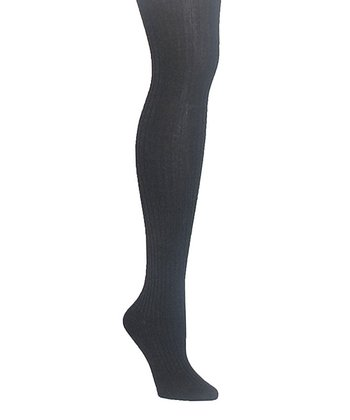 Dark Gray Heather Sweater Ribbed Tights - Plus