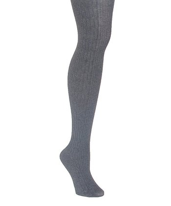 Gray Cable-Knit Sweater Tights - Women