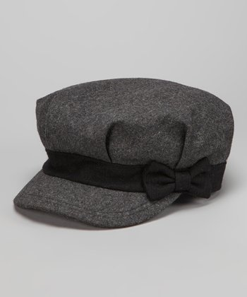 Gray Bow Newsboy Cap
