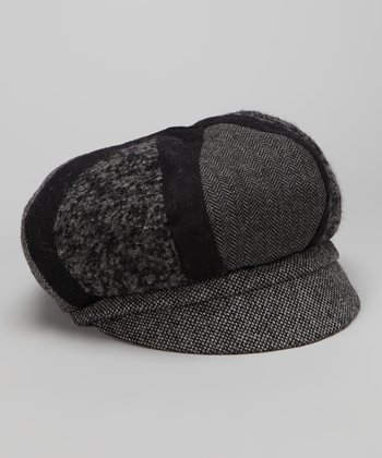 Black & Gray Newsboy Cap