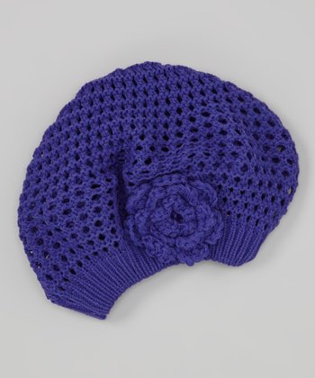 Purple Knit Beret