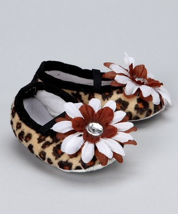 Brown Leopard Crib Shoe