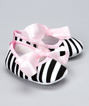 Light Pink Zebra Crib Shoe