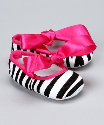 Hot Pink Zebra Crib Shoe