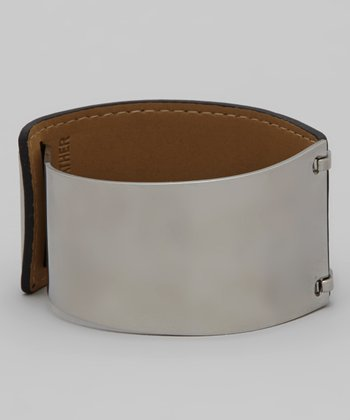 Black & Silver Leather Two-Tone Cuff